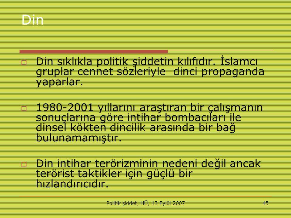 Politik şiddet, HÜ, 13 Eylül 200745 Din  Din sıklıkla politik şiddetin kılıfıdır.