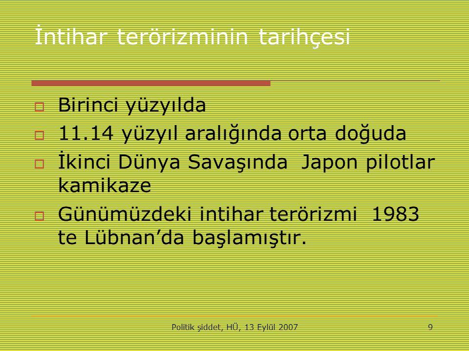 Politik şiddet, HÜ, 13 Eylül 20079 İntihar terörizminin tarihçesi  Birinci yüzyılda  11.14 yüzyıl aralığında orta doğuda  İkinci Dünya Savaşında Japon pilotlar kamikaze  Günümüzdeki intihar terörizmi 1983 te Lübnan'da başlamıştır.