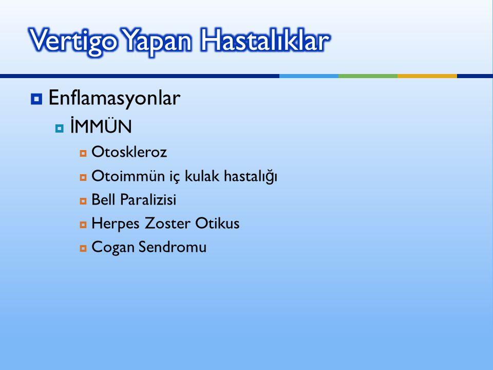  Enflamasyonlar  İ MMÜN  Otoskleroz  Otoimmün iç kulak hastalı ğ ı  Bell Paralizisi  Herpes Zoster Otikus  Cogan Sendromu
