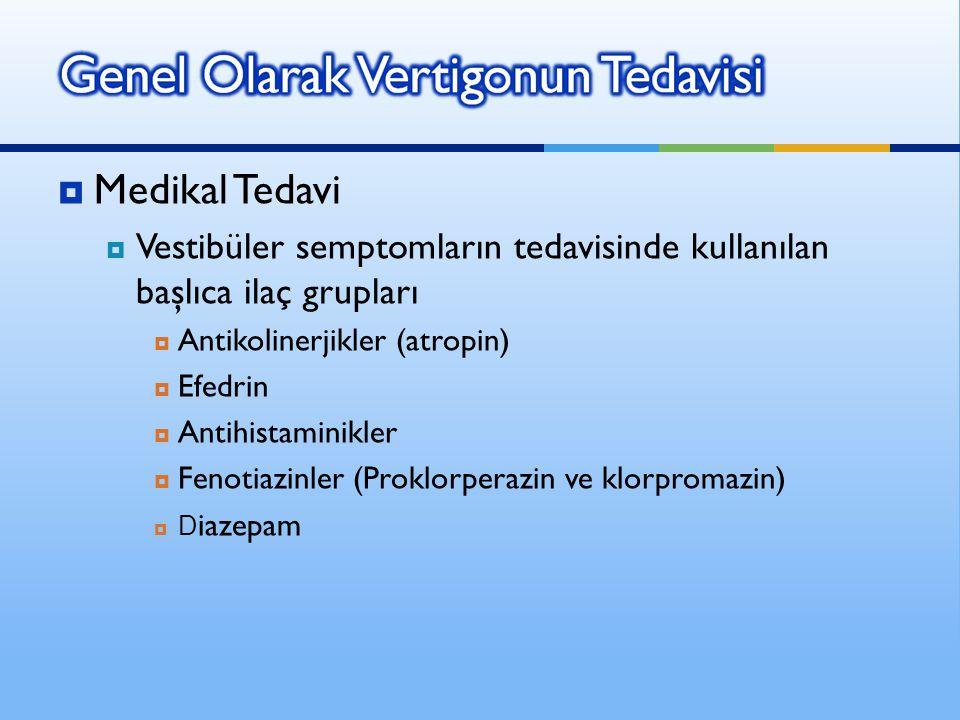  Medikal Tedavi  Vestibüler semptomların tedavisinde kullanılan başlıca ilaç grupları  Antikolinerjikler (atropin)  Efedrin  Antihistaminikler 