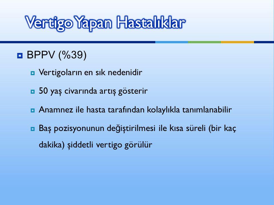  BPPV (%39)  Vertigoların en sık nedenidir  50 yaş civarında artış gösterir  Anamnez ile hasta tarafından kolaylıkla tanımlanabilir  Baş pozisyon