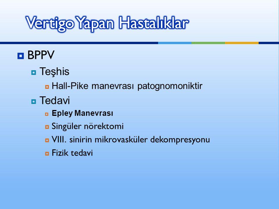  BPPV  Teşhis  Hall-Pike manevrası patognomoniktir  Tedavi  Epley Manevrası  Singüler nörektomi  VIII. sinirin mikrovasküler dekompresyonu  Fi