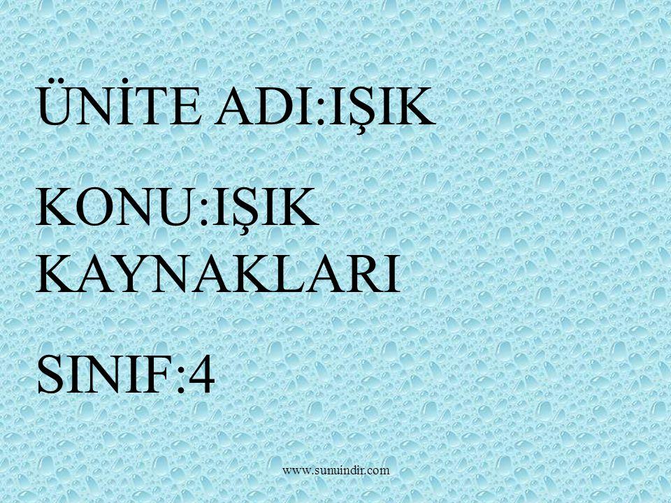 www.sunuindir.com ÜNİTE ADI:IŞIK KONU:IŞIK KAYNAKLARI SINIF:4