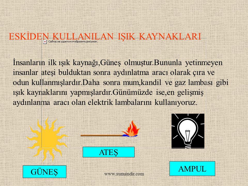 www.sunuindir.com ESKİDEN KULLANILAN IŞIK KAYNAKLARI İnsanların ilk ışık kaynağı,Güneş olmuştur.Bununla yetinmeyen insanlar ateşi bulduktan sonra aydı
