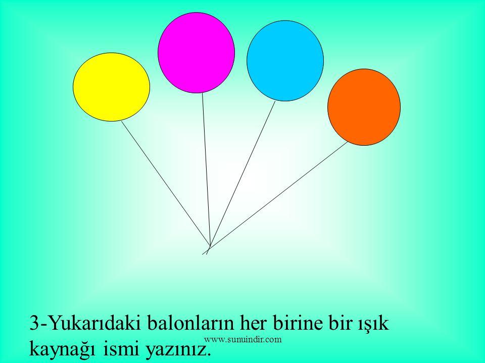 www.sunuindir.com 3-Yukarıdaki balonların her birine bir ışık kaynağı ismi yazınız.