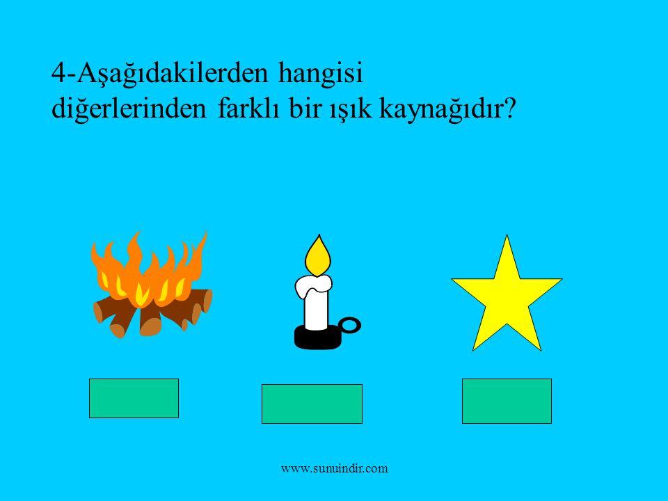 www.sunuindir.com 4-Aşağıdakilerden hangisi diğerlerinden farklı bir ışık kaynağıdır?