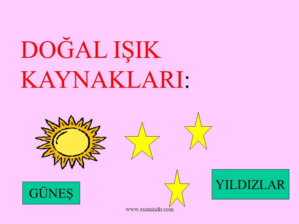 www.sunuindir.com DOĞAL IŞIK KAYNAKLARI: GÜNEŞ YILDIZLAR