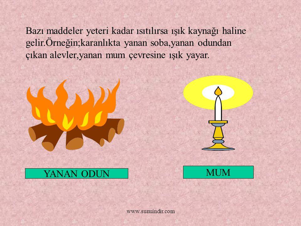 www.sunuindir.com Bazı maddeler yeteri kadar ısıtılırsa ışık kaynağı haline gelir.Örneğin;karanlıkta yanan soba,yanan odundan çıkan alevler,yanan mum