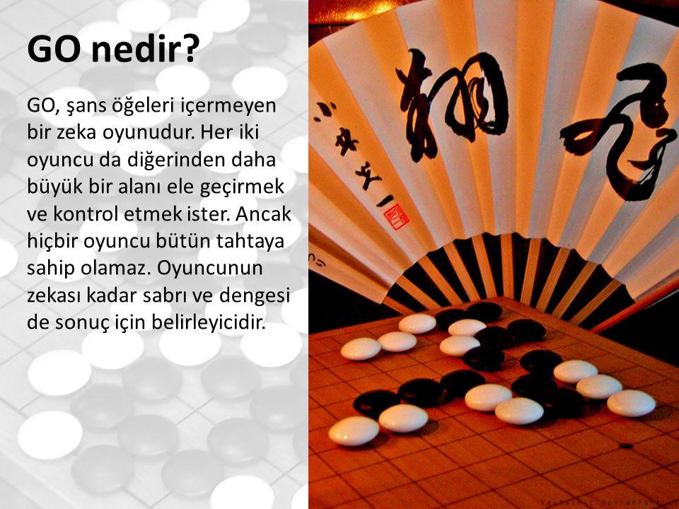 Türkiye'de GO 1989 yılında ODTÜ'de kurulan ilk GO kulübü ve bir sene sonrasında kurulan Türkiye GO Oyuncuları Derneği ile Türkiye'de GO'nun kurumsal temelleri atılmıştır.