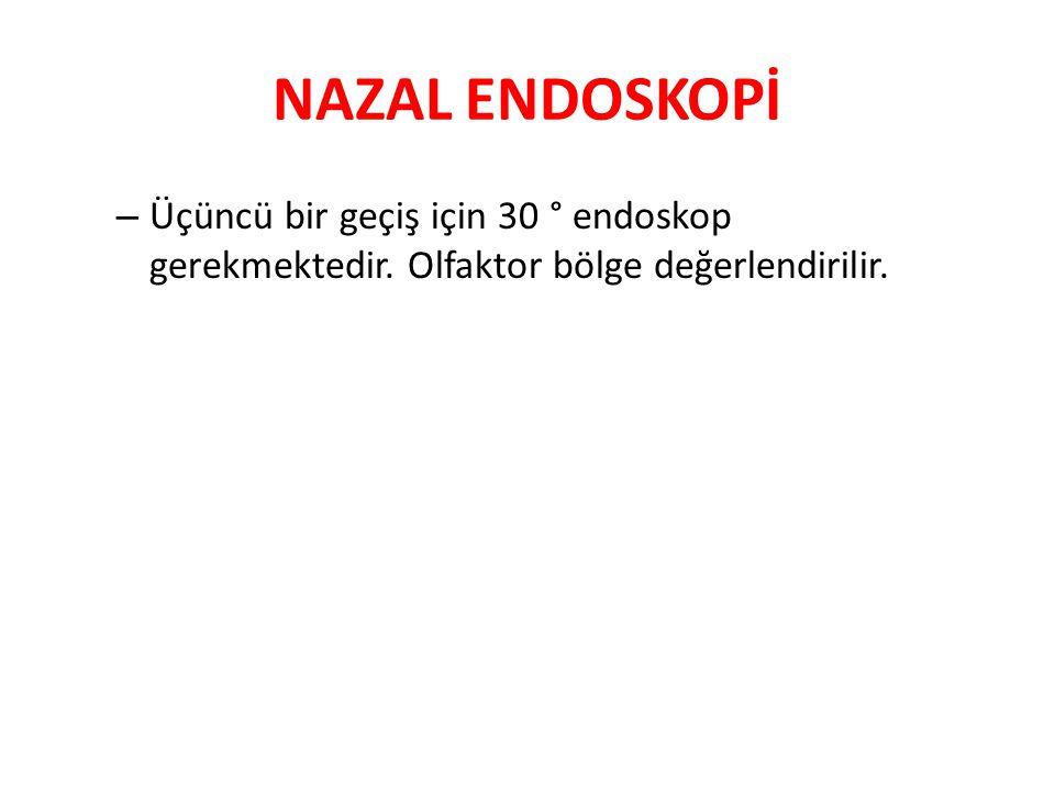 NAZAL ENDOSKOPİ – Üçüncü bir geçiş için 30 ° endoskop gerekmektedir. Olfaktor bölge değerlendirilir.