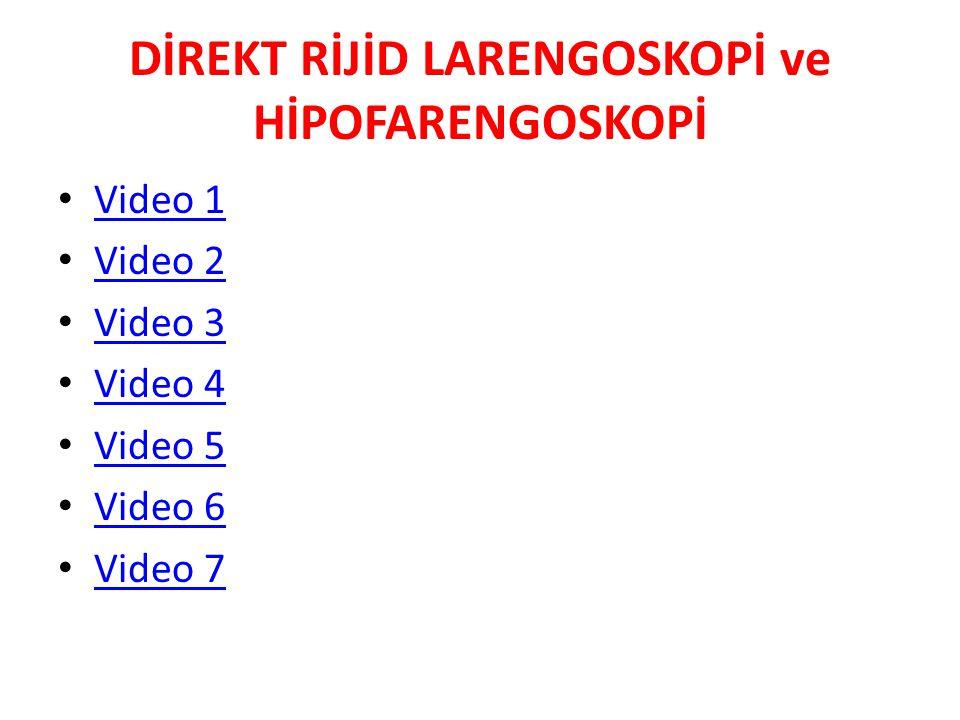 DİREKT RİJİD LARENGOSKOPİ ve HİPOFARENGOSKOPİ Video 1 Video 2 Video 3 Video 4 Video 5 Video 6 Video 7