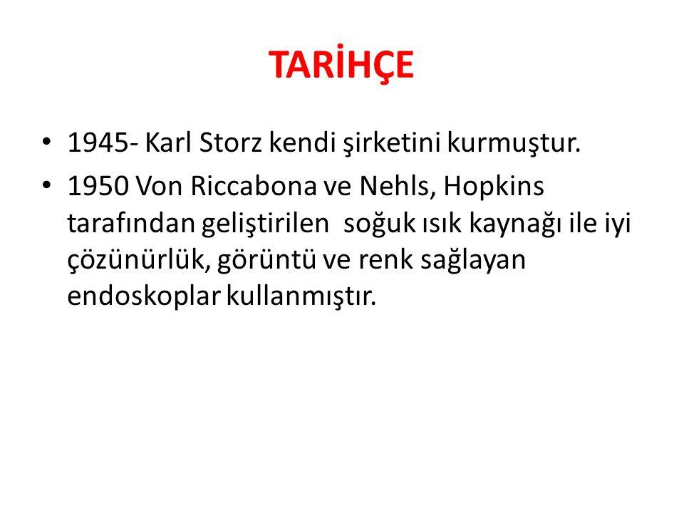 TARİHÇE 1945- Karl Storz kendi şirketini kurmuştur. 1950 Von Riccabona ve Nehls, Hopkins tarafından geliştirilen soğuk ısık kaynağı ile iyi çözünürlük