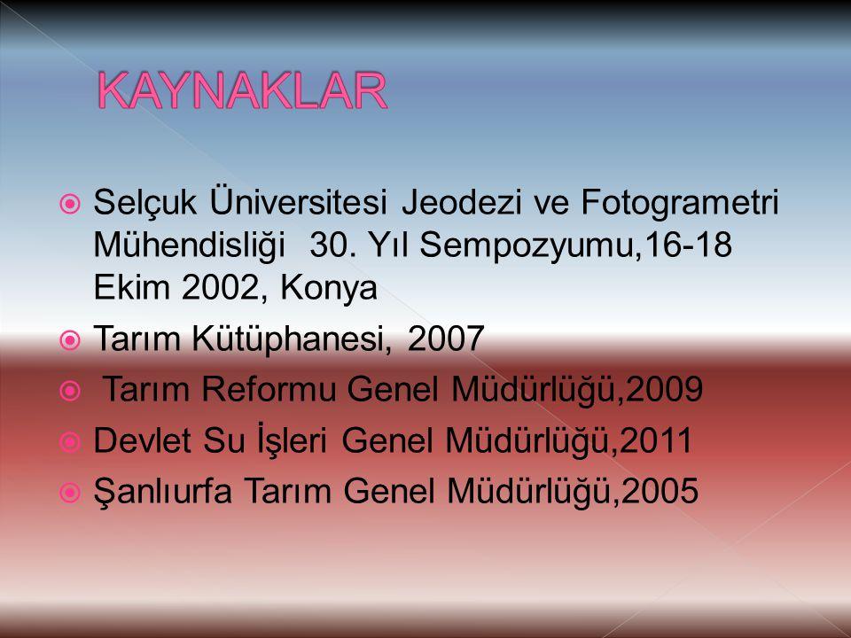  Selçuk Üniversitesi Jeodezi ve Fotogrametri Mühendisliği 30. Yıl Sempozyumu,16-18 Ekim 2002, Konya  Tarım Kütüphanesi, 2007  Tarım Reformu Genel M