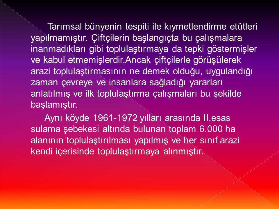 1965 yılında İller Bankası tarafından İzmir- Manisa Yöresindeki arazi toplulaştırma projeleri yapılmıştır.