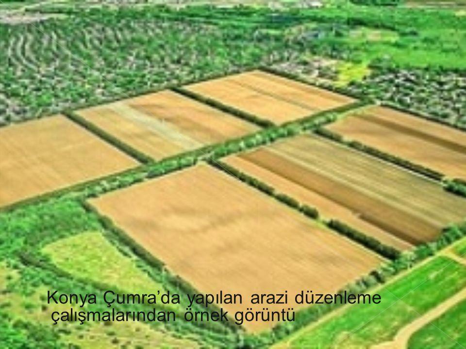 Konya Çumra'da yapılan arazi düzenleme çalışmalarından örnek görüntü