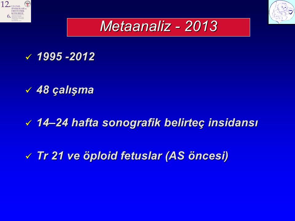 Metaanaliz - 2013 1995 -2012 1995 -2012 48 çalışma 48 çalışma 14–24 hafta sonografik belirteç insidansı 14–24 hafta sonografik belirteç insidansı Tr 21 ve öploid fetuslar (AS öncesi) Tr 21 ve öploid fetuslar (AS öncesi)