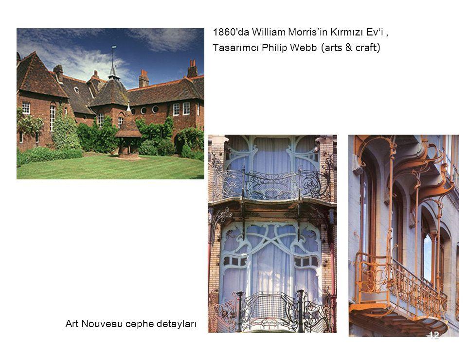 1860'da William Morris'in Kırmızı Ev'i, Tasarımcı Philip Webb (arts & craft) Art Nouveau cephe detayları 12