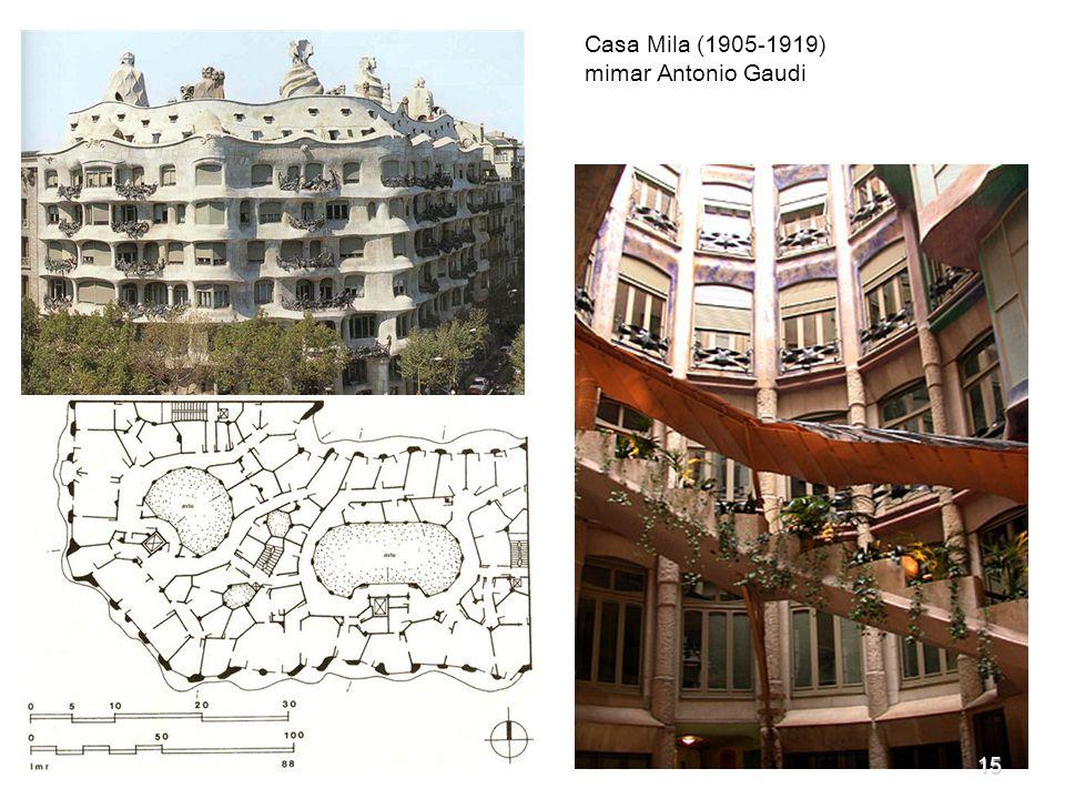 Casa Mila (1905-1919) mimar Antonio Gaudi 15