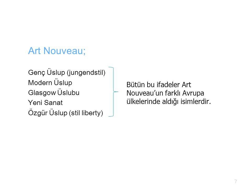Bütün bu ifadeler Art Nouveau'un farklı Avrupa ülkelerinde aldığı isimlerdir. Art Nouveau; Genç Üslup (jungendstil) Modern Üslup Glasgow Üslubu Yeni S