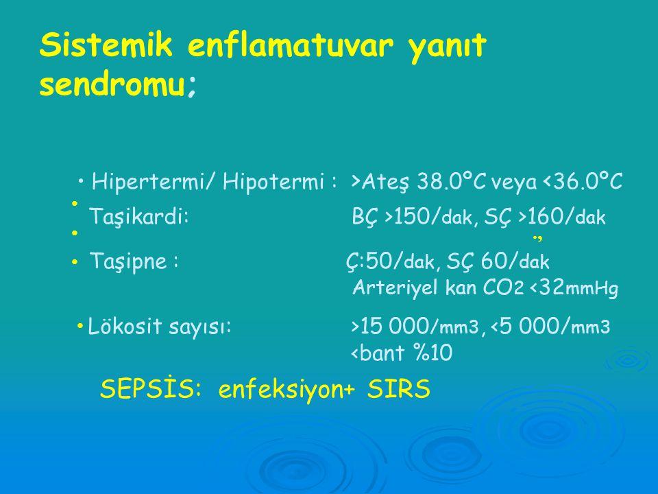 Enfeksiyon Sistemik enflamatuvar yanıt sendromu Pankreatit,yanık,travma,diğer Sistemik enflamatuvar yanıt sendromu (SIRS ) SEPSİS bakeriyemi fungemi p
