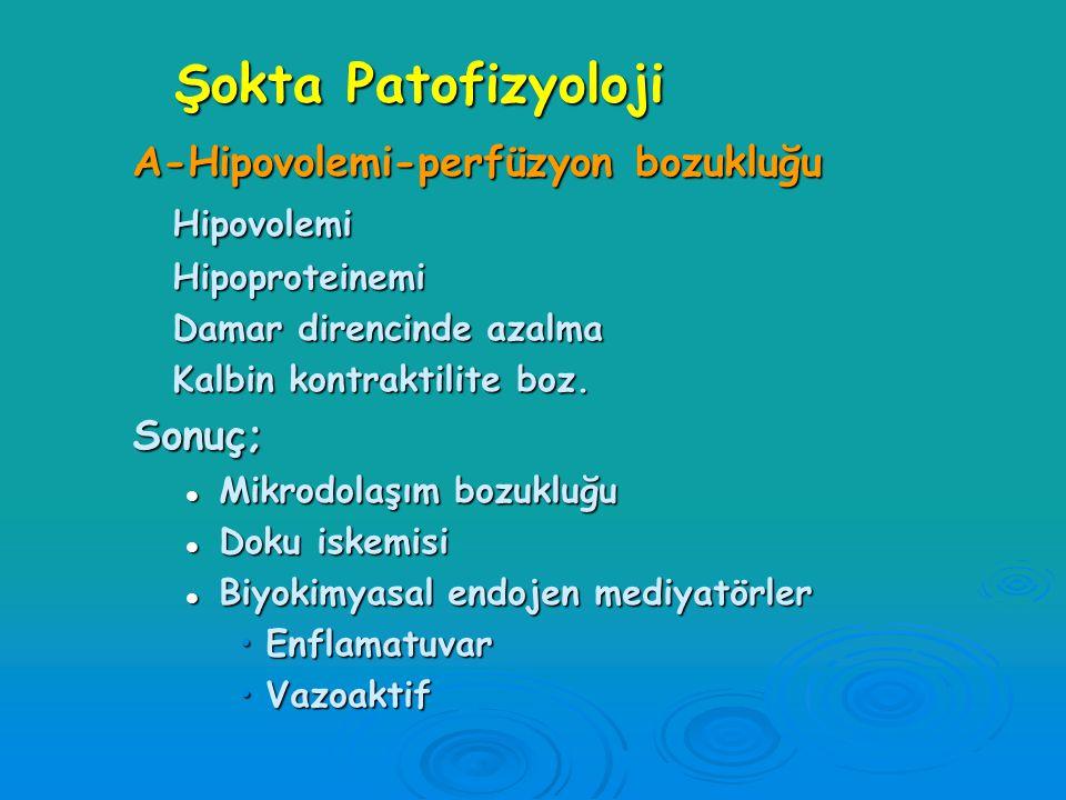 Şokta Patofizyoloji  A-Hipoksi  B-Hipovolemi  C-Mikrodolaşım bozukluğu  D-Doku iskemisi