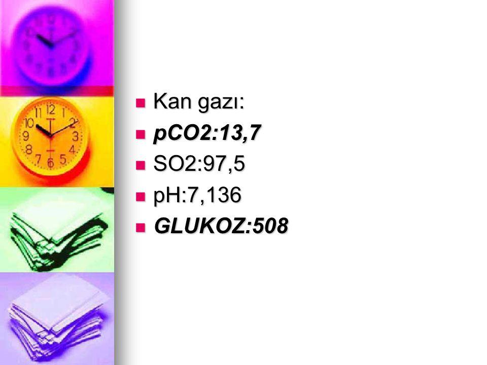 Kan gazı: Kan gazı: pCO2:13,7 pCO2:13,7 SO2:97,5 SO2:97,5 pH:7,136 pH:7,136 GLUKOZ:508 GLUKOZ:508