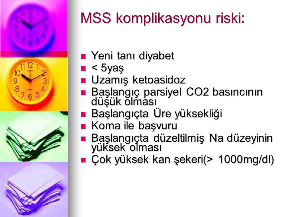MSS komplikasyonu riski: Yeni tanı diyabet Yeni tanı diyabet < 5yaş < 5yaş Uzamış ketoasidoz Uzamış ketoasidoz Başlangıç parsiyel CO2 basıncının düşük