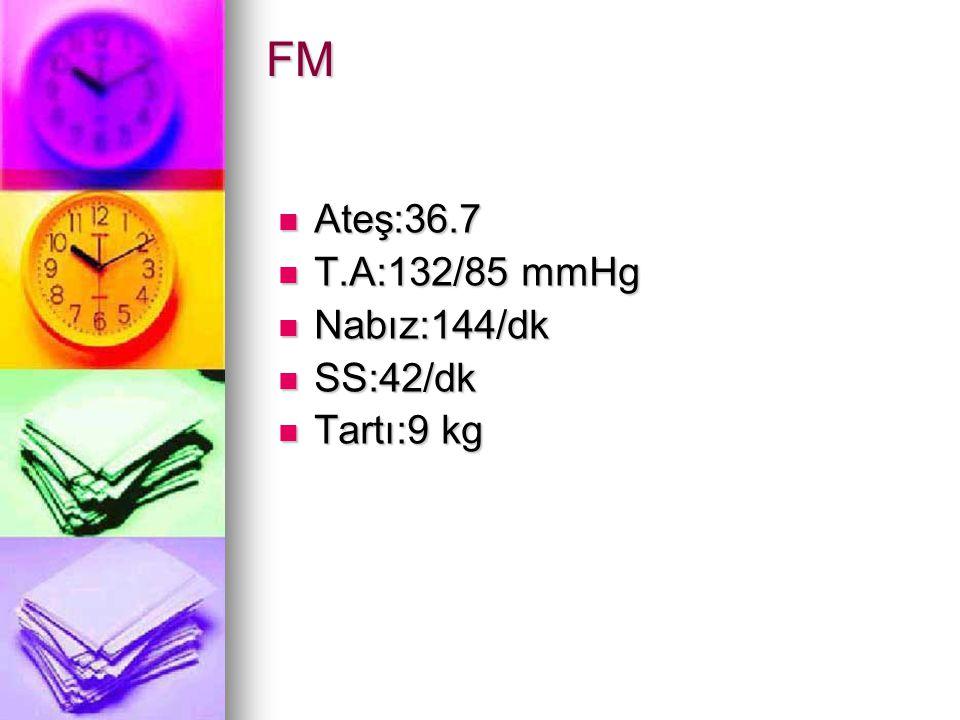 FM Ateş:36.7 Ateş:36.7 T.A:132/85 mmHg T.A:132/85 mmHg Nabız:144/dk Nabız:144/dk SS:42/dk SS:42/dk Tartı:9 kg Tartı:9 kg