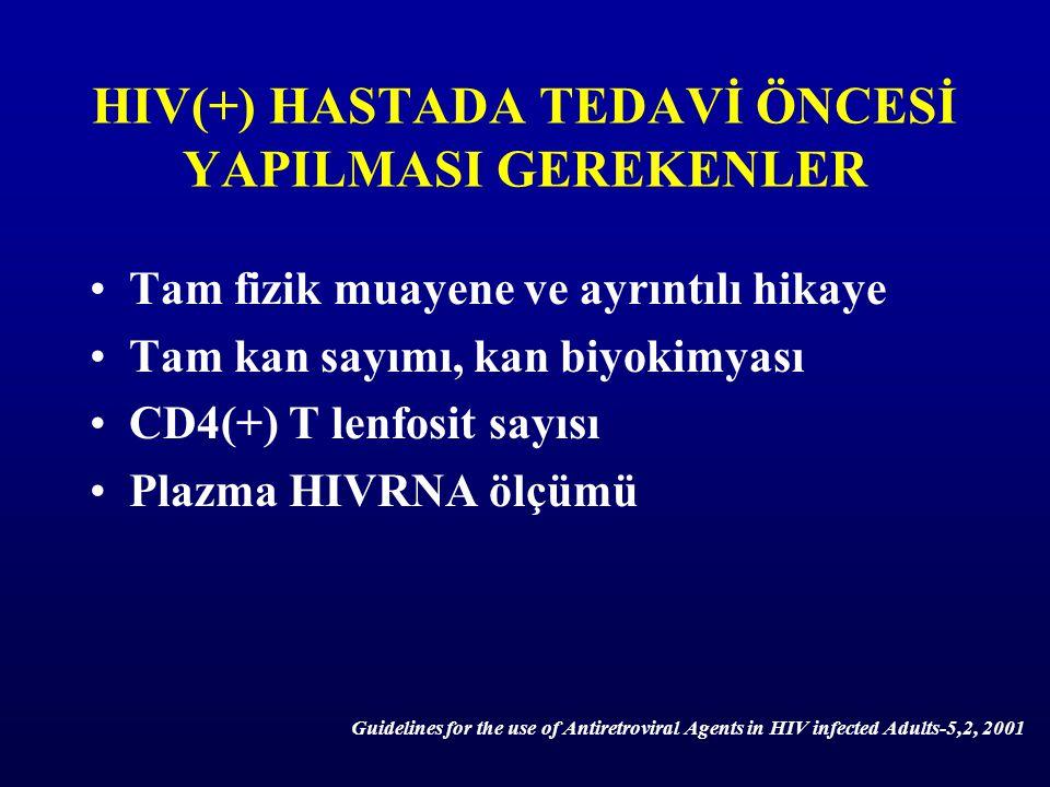 HIV(+) HASTADA TEDAVİ ÖNCESİ YAPILMASI GEREKENLER Tam fizik muayene ve ayrıntılı hikaye Tam kan sayımı, kan biyokimyası CD4(+) T lenfosit sayısı Plazm