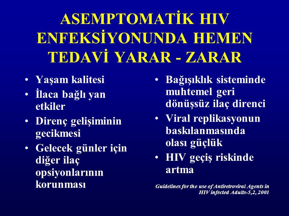 ASEMPTOMATİK HIV ENFEKSİYONUNDA HEMEN TEDAVİ YARAR - ZARAR Yaşam kalitesi İlaca bağlı yan etkiler Direnç gelişiminin gecikmesi Gelecek günler için diğ