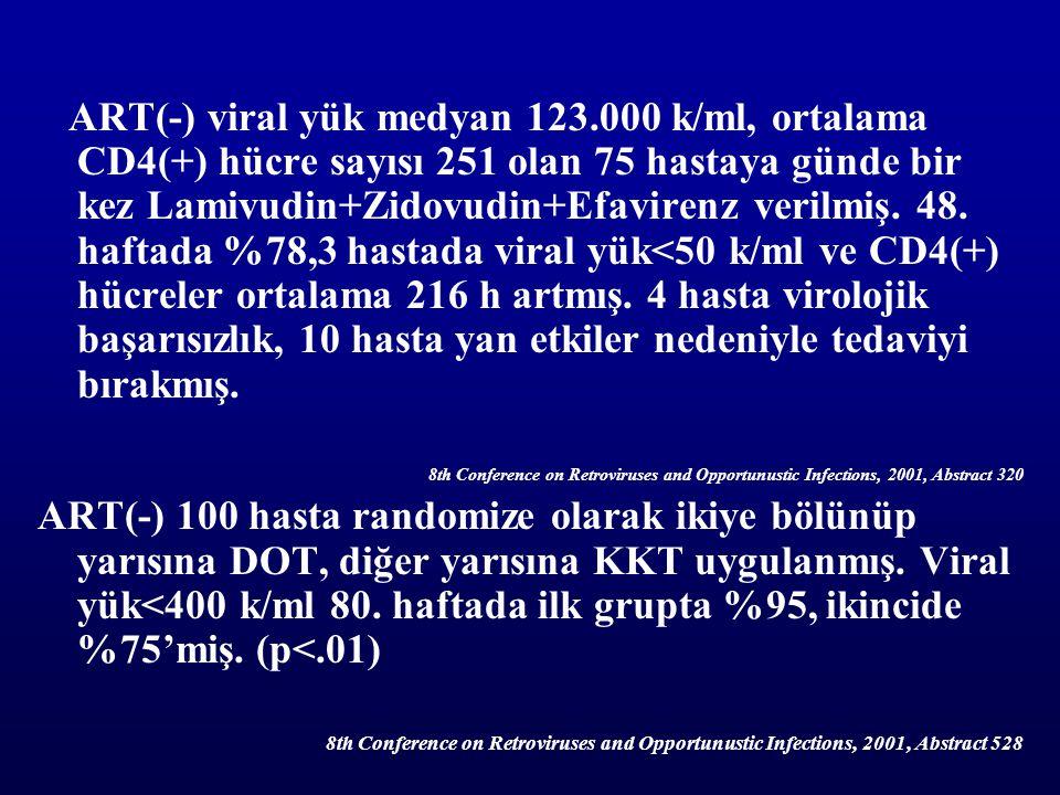 ART(-) viral yük medyan 123.000 k/ml, ortalama CD4(+) hücre sayısı 251 olan 75 hastaya günde bir kez Lamivudin+Zidovudin+Efavirenz verilmiş. 48. hafta