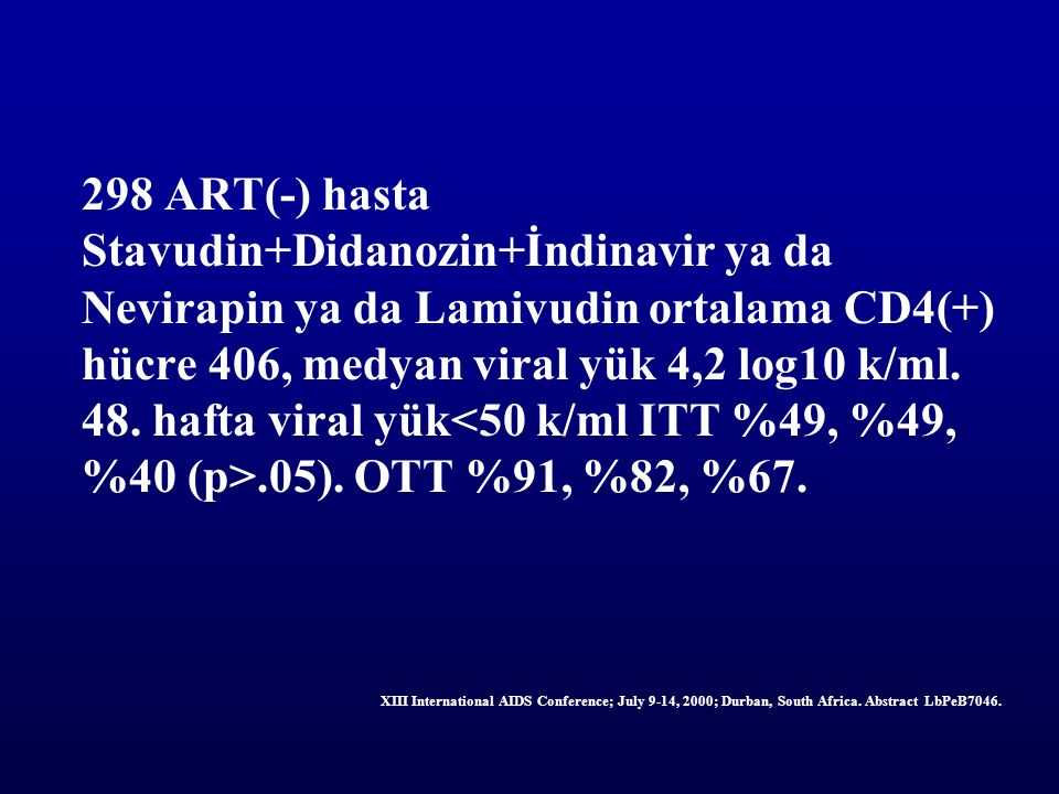 298 ART(-) hasta Stavudin+Didanozin+İndinavir ya da Nevirapin ya da Lamivudin ortalama CD4(+) hücre 406, medyan viral yük 4,2 log10 k/ml. 48. hafta vi