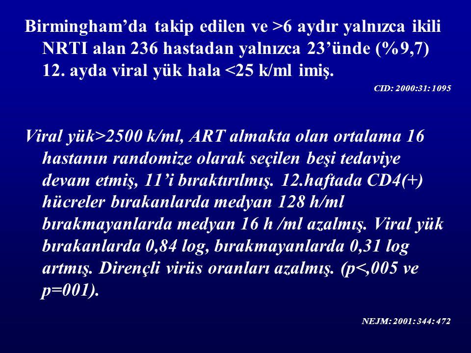 Birmingham'da takip edilen ve >6 aydır yalnızca ikili NRTI alan 236 hastadan yalnızca 23'ünde (%9,7) 12. ayda viral yük hala <25 k/ml imiş. CID: 2000: