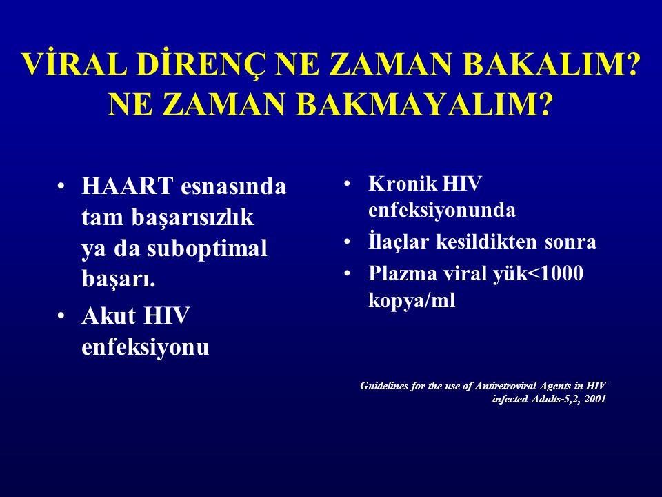VİRAL DİRENÇ NE ZAMAN BAKALIM? NE ZAMAN BAKMAYALIM? HAART esnasında tam başarısızlık ya da suboptimal başarı. Akut HIV enfeksiyonu Kronik HIV enfeksiy