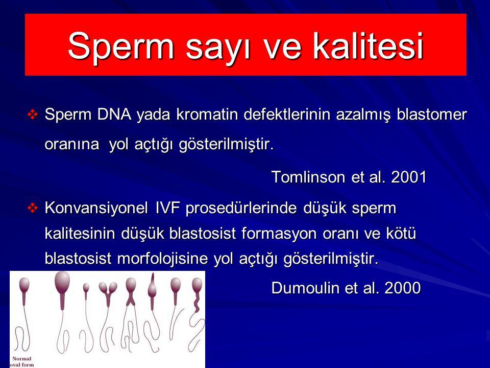 Sperm sayı ve kalitesi  Sperm DNA yada kromatin defektlerinin azalmış blastomer oranına yol açtığı gösterilmiştir.