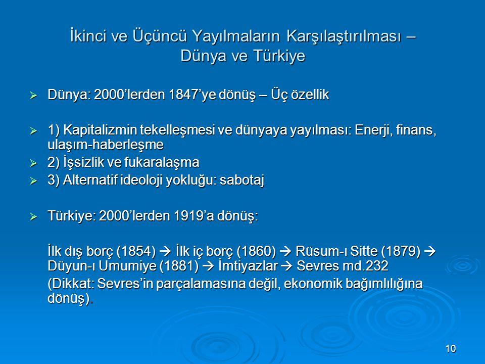 10 İkinci ve Üçüncü Yayılmaların Karşılaştırılması – Dünya ve Türkiye  Dünya: 2000'lerden 1847'ye dönüş – Üç özellik  1) Kapitalizmin tekelleşmesi v
