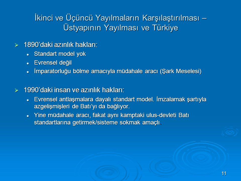 11 İkinci ve Üçüncü Yayılmaların Karşılaştırılması – Üstyapının Yayılması ve Türkiye  1890'daki azınlık hakları: Standart model yok Standart model yo