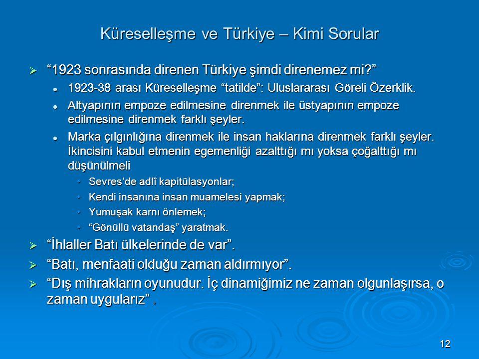 """12 Küreselleşme ve Türkiye – Kimi Sorular  """"1923 sonrasında direnen Türkiye şimdi direnemez mi?"""" 1923-38 arası Küreselleşme """"tatilde"""": Uluslararası G"""
