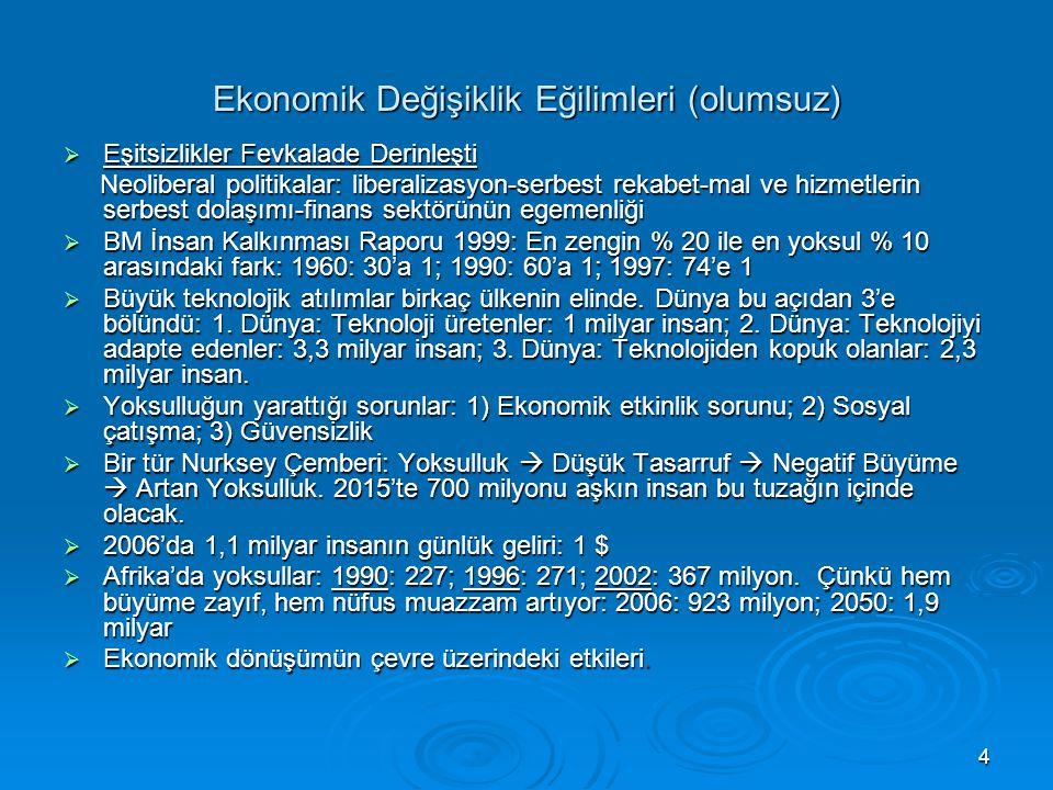 4 Ekonomik Değişiklik Eğilimleri (olumsuz)  Eşitsizlikler Fevkalade Derinleşti Neoliberal politikalar: liberalizasyon-serbest rekabet-mal ve hizmetle