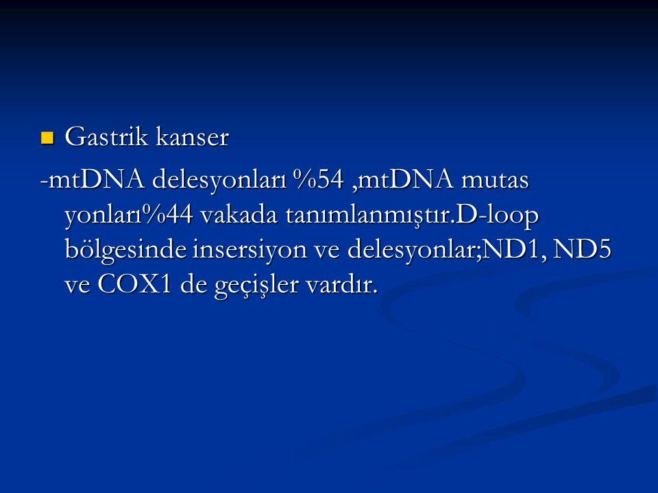 Gastrik kanser Gastrik kanser -mtDNA delesyonları %54,mtDNA mutas yonları%44 vakada tanımlanmıştır.D-loop bölgesinde insersiyon ve delesyonlar;ND1, ND