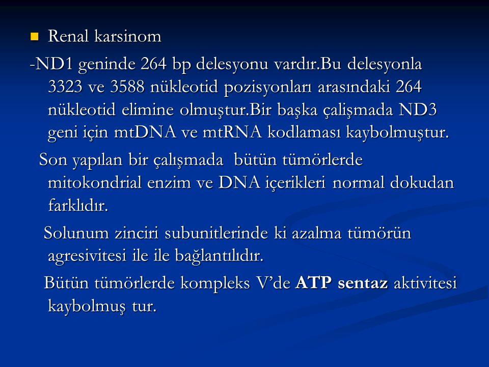 Renal karsinom Renal karsinom -ND1 geninde 264 bp delesyonu vardır.Bu delesyonla 3323 ve 3588 nükleotid pozisyonları arasındaki 264 nükleotid elimine