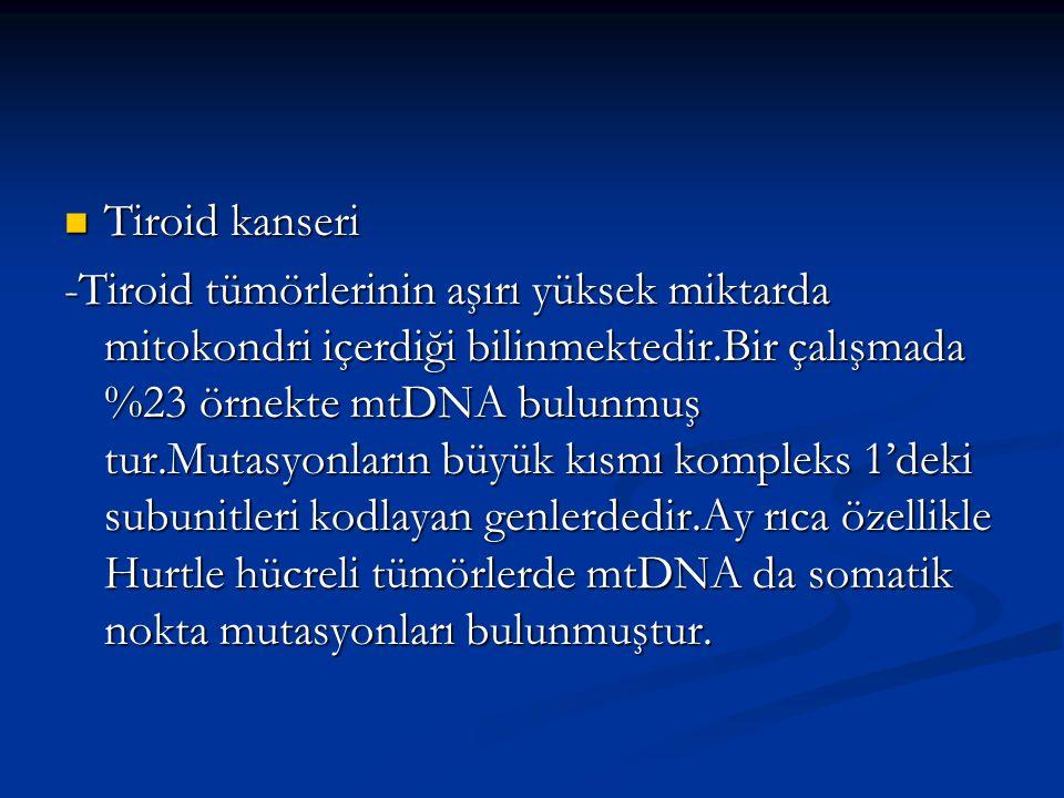 Tiroid kanseri Tiroid kanseri -Tiroid tümörlerinin aşırı yüksek miktarda mitokondri içerdiği bilinmektedir.Bir çalışmada %23 örnekte mtDNA bulunmuş tu