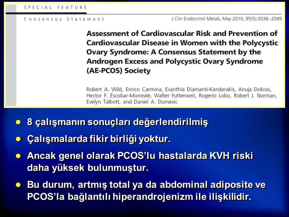 ● 8 çalışmanın sonuçları değerlendirilmiş ● Çalışmalarda fikir birliği yoktur. ● Ancak genel olarak PCOS'lu hastalarda KVH riski daha yüksek bulunmuşt
