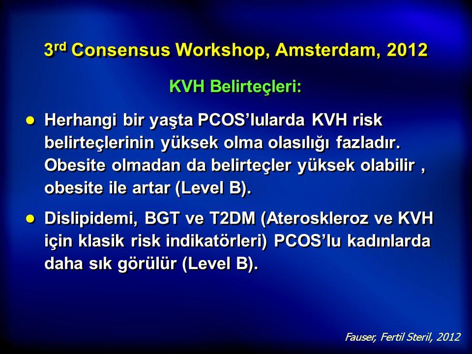 3 rd Consensus Workshop, Amsterdam, 2012 KVH Belirteçleri: ● Herhangi bir yaşta PCOS'lularda KVH risk belirteçlerinin yüksek olma olasılığı fazladır.