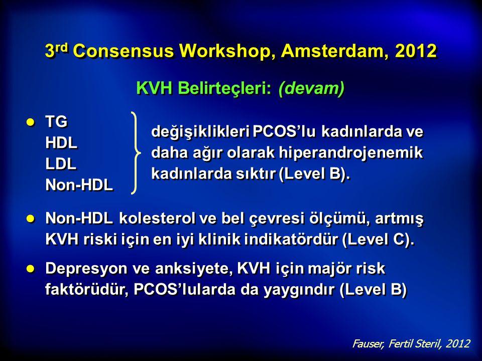 3 rd Consensus Workshop, Amsterdam, 2012 KVH Belirteçleri: (devam) ● TG HDL LDL Non-HDL Fauser, Fertil Steril, 2012 ● Non-HDL kolesterol ve bel çevres