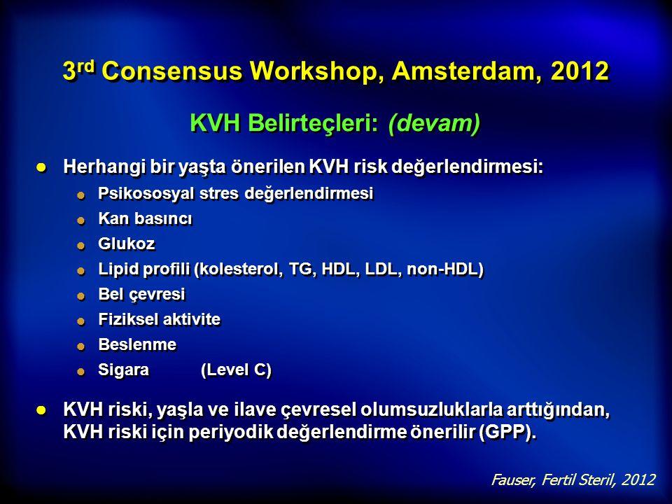 3 rd Consensus Workshop, Amsterdam, 2012 KVH Belirteçleri: (devam) ● Herhangi bir yaşta önerilen KVH risk değerlendirmesi: Psikososyal stres değerlend