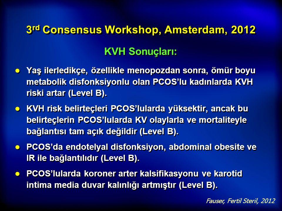 3 rd Consensus Workshop, Amsterdam, 2012 KVH Sonuçları: ● Yaş ilerledikçe, özellikle menopozdan sonra, ömür boyu metabolik disfonksiyonlu olan PCOS'lu