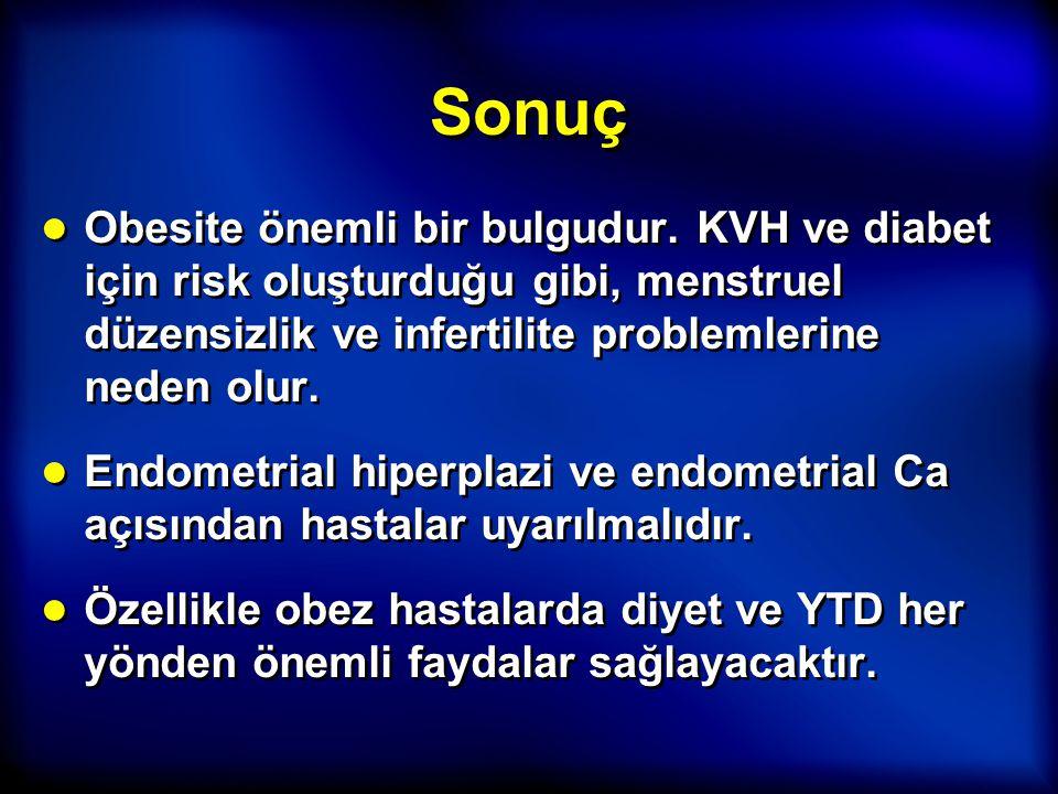 Sonuç ● Obesite önemli bir bulgudur. KVH ve diabet için risk oluşturduğu gibi, menstruel düzensizlik ve infertilite problemlerine neden olur. ● Endome