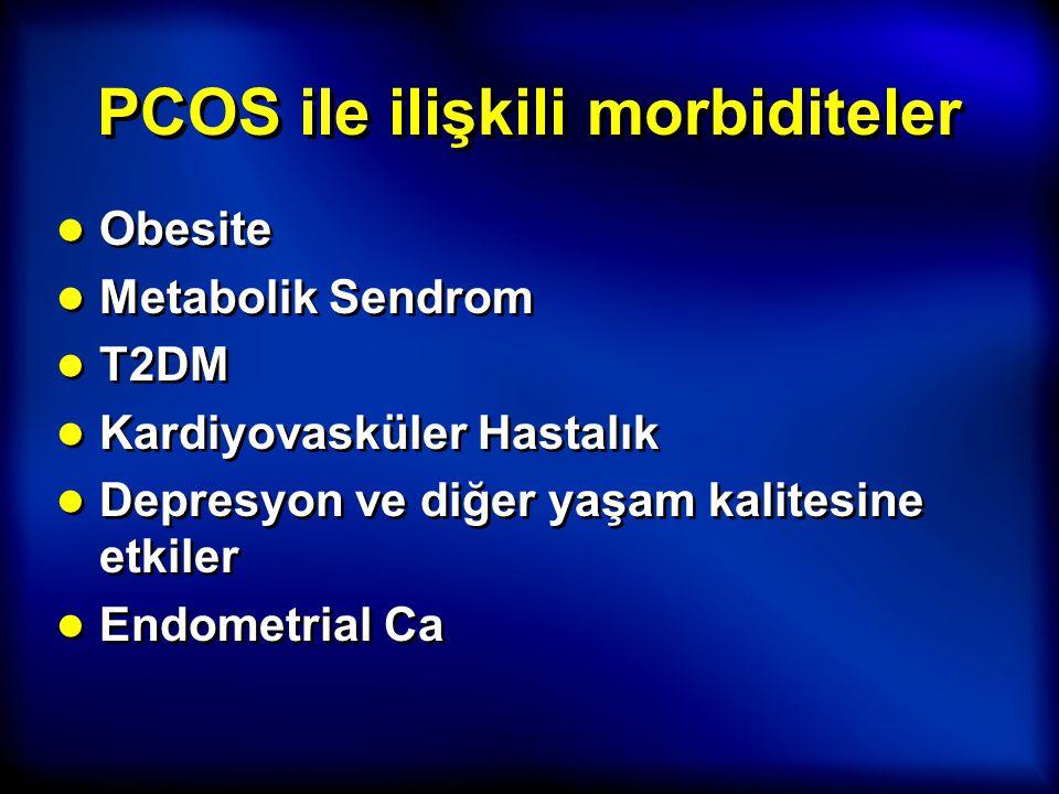 PCOS ile ilişkili morbiditeler ● Obesite ● Metabolik Sendrom ● T2DM ● Kardiyovasküler Hastalık ● Depresyon ve diğer yaşam kalitesine etkiler ● Endomet