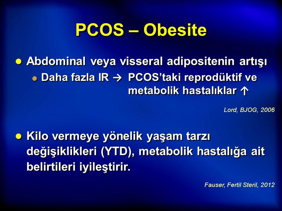 PCOS – Obesite ● Abdominal veya visseral adipositenin artışı Daha fazla IR → PCOS'taki reprodüktif ve metabolik hastalıklar ↑ ● Abdominal veya vissera